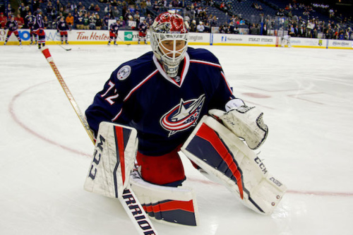 COLUMBUS, OH - DECEMBER 20: Sergei Bobrovsky #72 of the Columbus Blue Jackets warms up prior to the start of the game against the Los Angeles Kings on December 20, 2016 at Nationwide Arena in Columbus, Ohio. (Photo by Kirk Irwin/Getty Images)