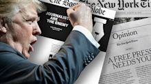 As newspapers unite to defend press freedom, Trump accuses them of 'COLLUSION'