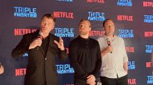 Ben Affleck, Charlie Hunnam and Garrett Hedlund charm fans in Singapore while promoting 'Triple Frontier'