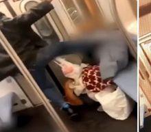 Disturbing video shows man kicking elderly woman in face on New York City subway