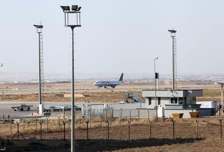 A plane is seen at the Erbil International Airport in Erbil, Iraq September 29, 2017. REUTERS/Azad Lashkari