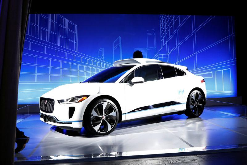 A Jaguar I PACE Self Driving Car Is Pictured During Its Unveiling By Waymo