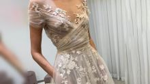 Transparent wedding gown leaves bride overexposed