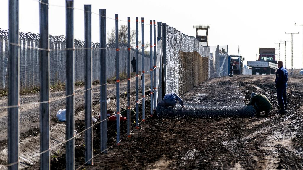 Prisoners build a new, second fence at the Hungarian-Serbian border near Gara village in October 2016 (AFP Photo/CSABA SEGESVARI)