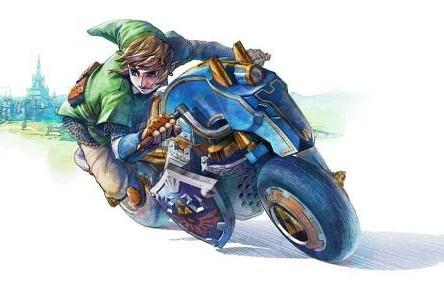 Link's Master Cycle makes spirit tracks in Mario Kart 8 DLC