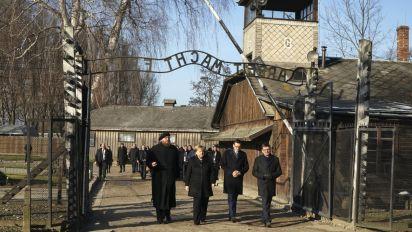 Angela Merkel makes her first visit to Auschwitz