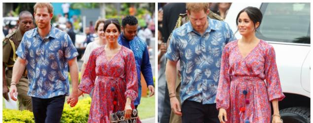 Meghan Markle stuns in $2,800 bring pink pom pom dress in Fiji