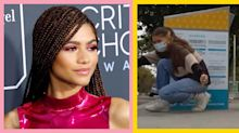 Zendaya just showcased chunky blonde highlights while voting