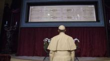 Pope Francis Prays In Front Of The Shroud Of Turin