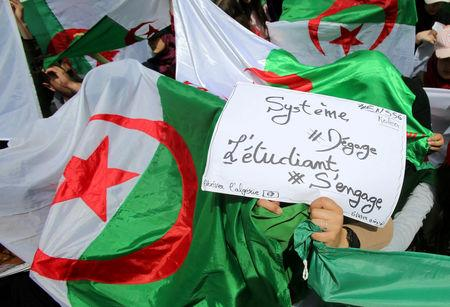 Demonstrators hold flags and banners during anti government protests in Algiers