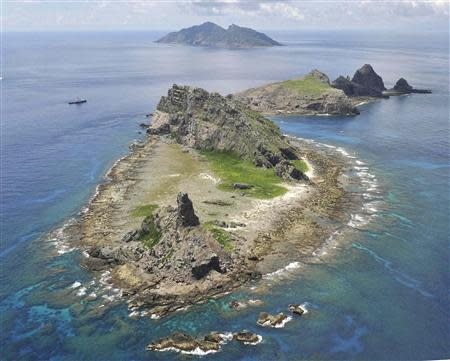 The city government of Tokyo's survey vessel sails around a group of disputed islands known as Senkaku in Japan and Diaoyu in China in the East China Sea in this September 2, 2012 file photo provided by Kyodo. Mandatory credit REUTERS/Kyodo/Files