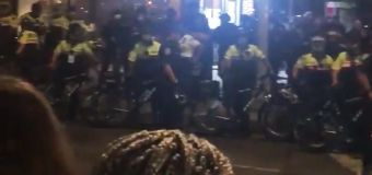 NYPD officers charge at protesters and diners