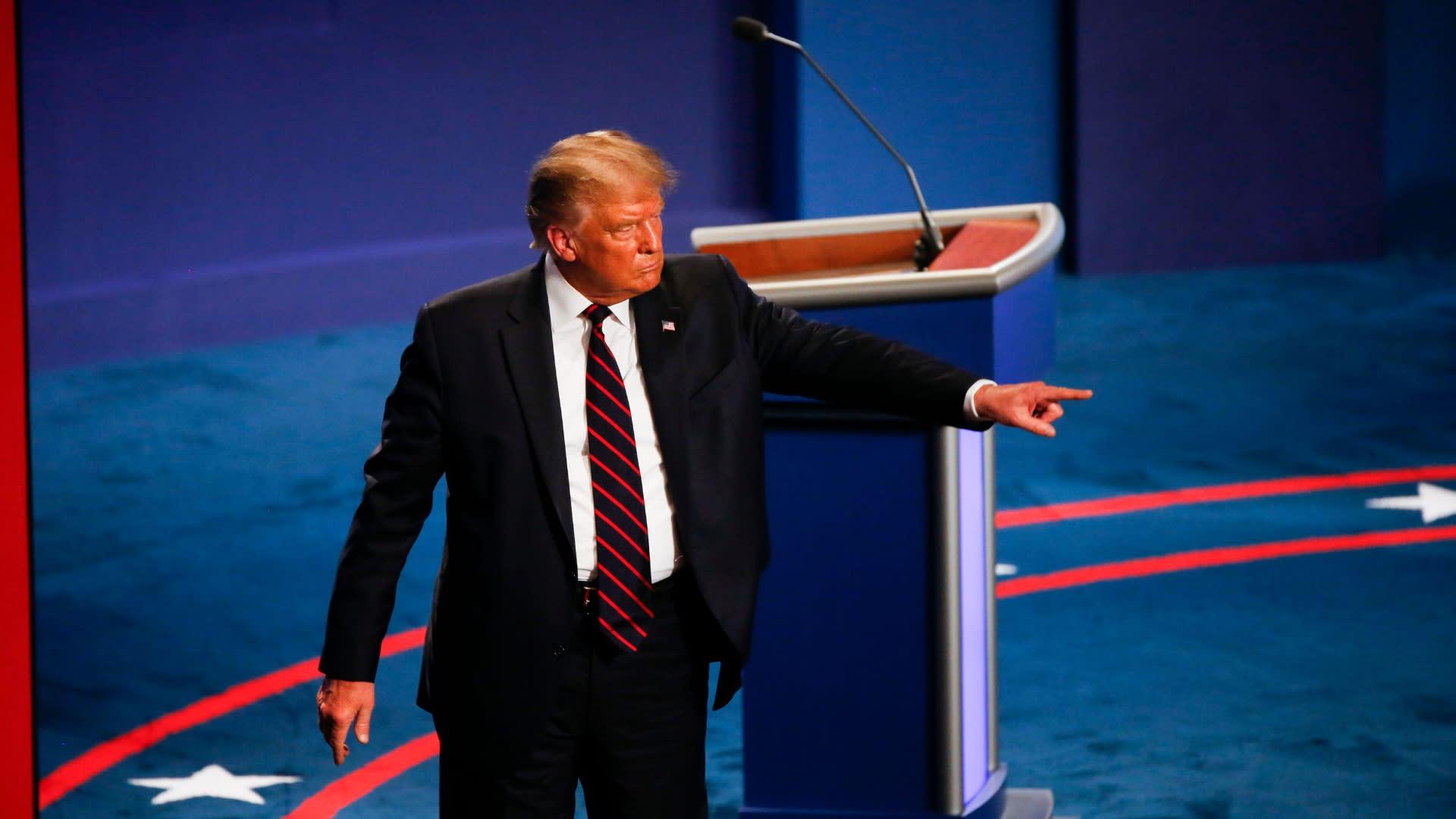 President Donald Trump says he 'brought back Big Ten football' during debate