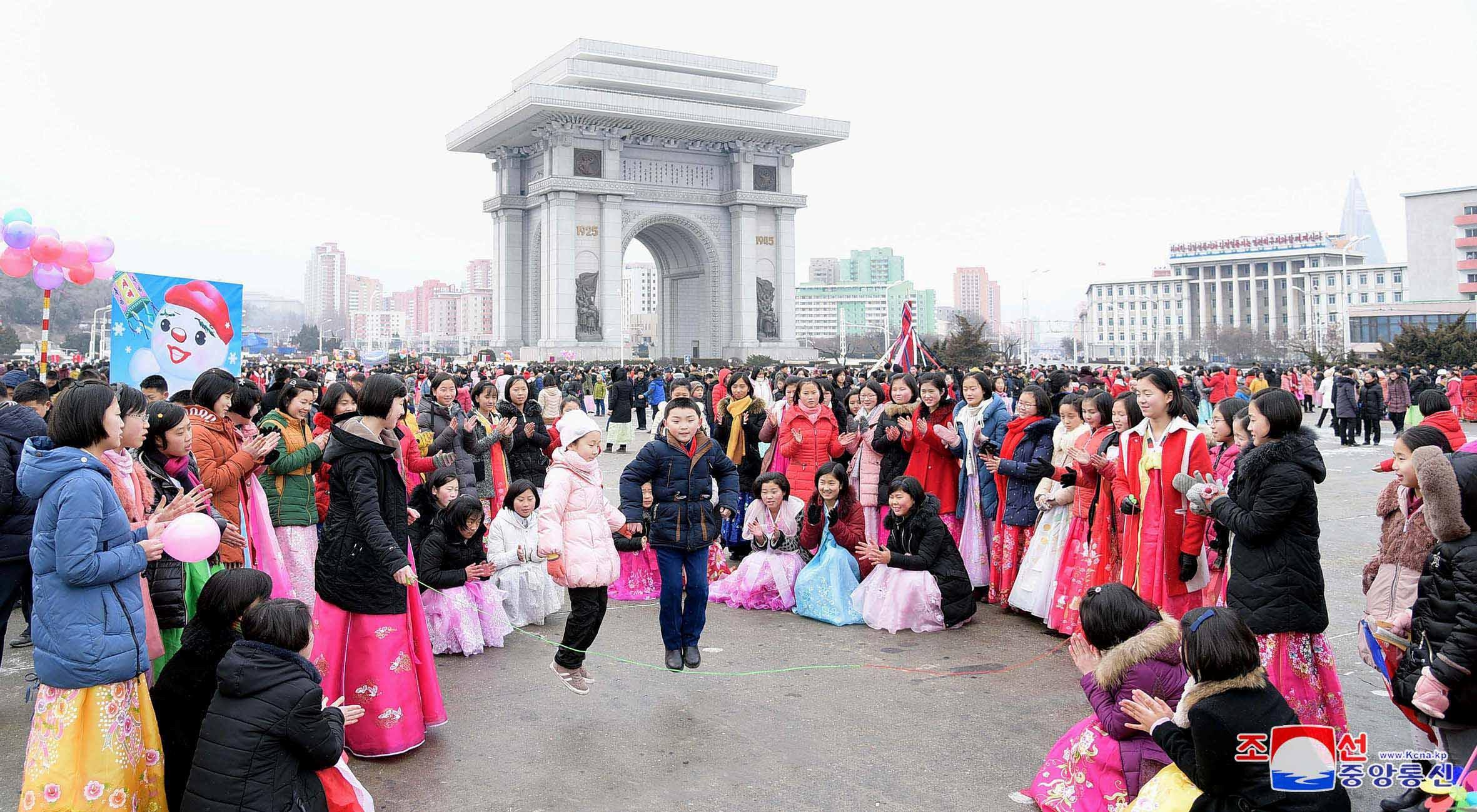 People celebrate Lunar New Year in Pyongyang, North Korea, in this KCNA photo released February 6, 2019. KCNA via REUTERS    ATTENTION EDITORS - THIS IMAGE WAS PROVIDED BY A THIRD PARTY. REUTERS IS UNABLE TO INDEPENDENTLY VERIFY THIS IMAGE. NO THIRD PARTY SALES. SOUTH KOREA OUT. NO COMMERCIAL OR EDITORIAL SALES IN SOUTH KOREA.
