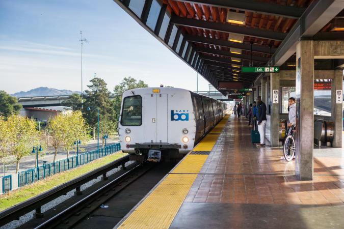 November 19, 2017 Oakland/CA/USA - BART train arriving at the Coliseum stop, Richmond bound, east San Francisco bay area