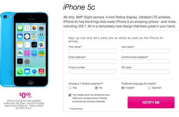 AT&T and T-Mobile reveal iPhone 5c and 5s installment pricing