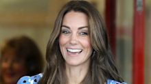 Duchess of Cambridge recycles blue patterned dress for International Nurses Day video call