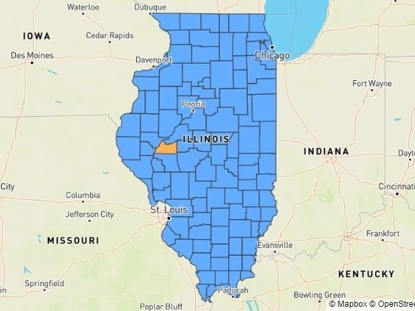A map showing Illinois counties color coded in blue or orange based on county-level coronavirus data, as of July 2, 2020. Counties in orange show warning signs new spikes of the virus, officials say.