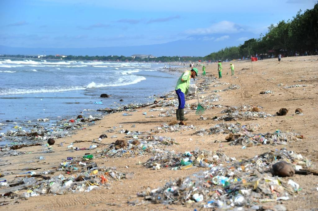 The Indonesian holiday island has become an embarrassing poster child for the country's trash problem (AFP Photo/SONNY TUMBELAKA)