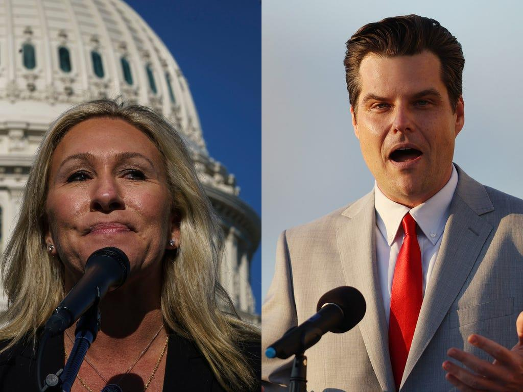 Matt Gaetz and Marjorie Taylor Greene are hitting the road together on a national 'America First Tour' thumbnail