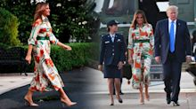 Melania Trump sets off for UK in £2,650 Gucci dress printed with London landmarks