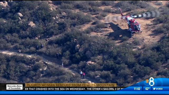 Injured woman rescued from Cowles Mountain