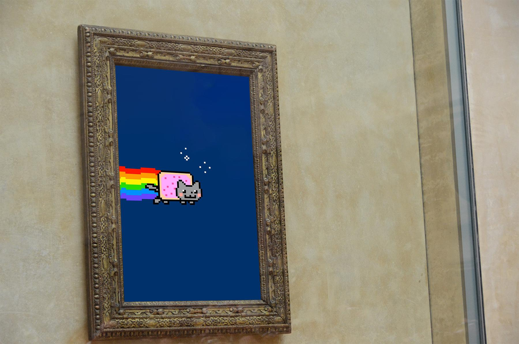 Artist-created image of Nyan Cat hung in place of the Mona Lisa.