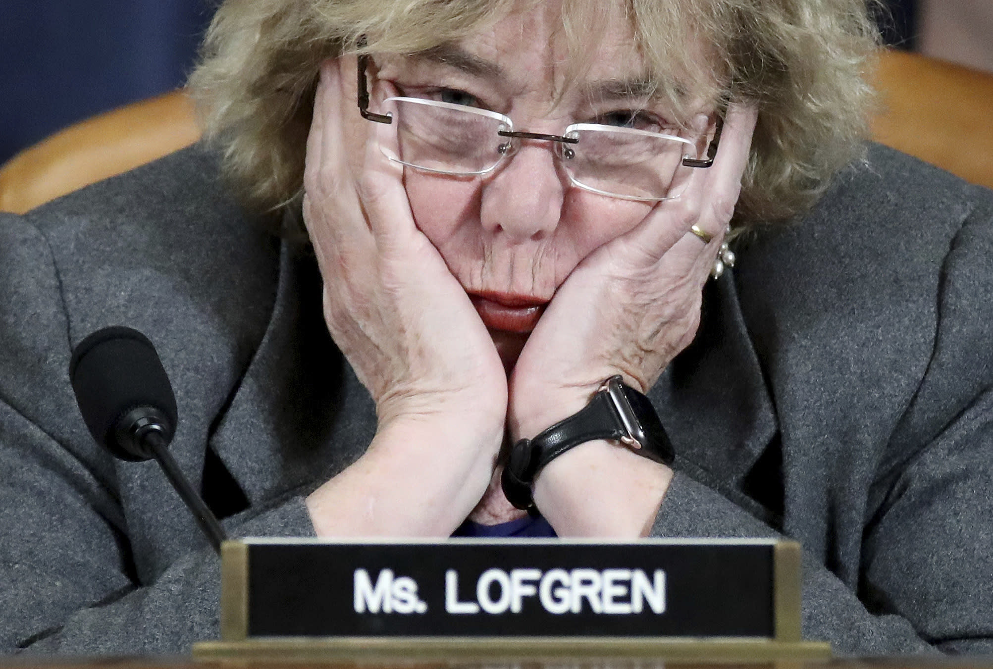 Rep. Zoe Lofgren, D-Caif., listens as constitutional scholars testify before the House Judiciary Committee in the Longworth House Office Building on Capitol Hill December 4, 2019 in Washington. (Drew Angerer/Pool via AP)