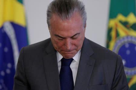 El presidente de Brasil, Michel Temer, en una ceremonia en el palacio Planalto en Brasilia