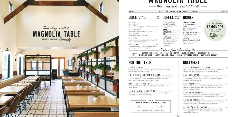 Magnolia table restaurant menu for Table restaurant menu