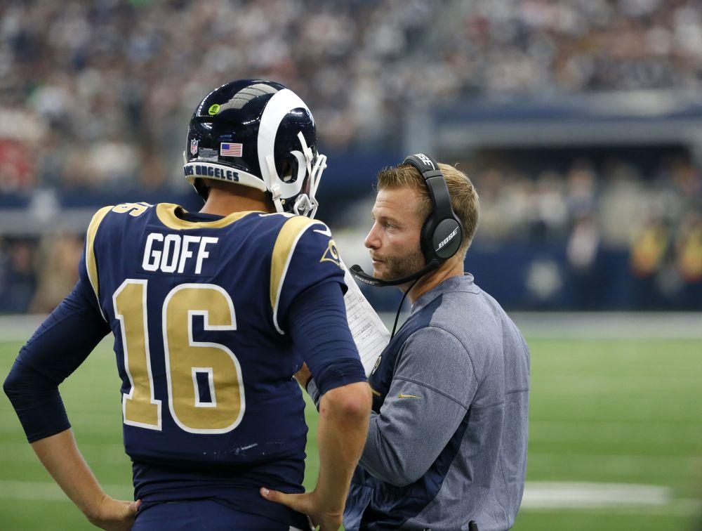 Los Angeles Rams quarterback Jared Goff (16) talks head coach Sean McVay in a win over the Cowboys. (AP)