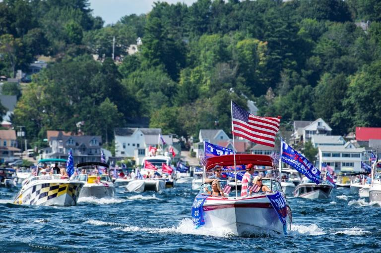 Hundreds of boaters parade on Lake Winnipesaukee to support US President Donald Trump, in Laconia, New Hampshire, on August 22, 2020
