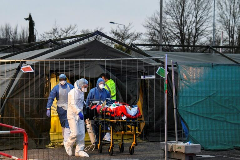 The French military set up a field hospital in Mulhouse to ease the burden on nearby hospitals (AFP Photo/SEBASTIEN BOZON)