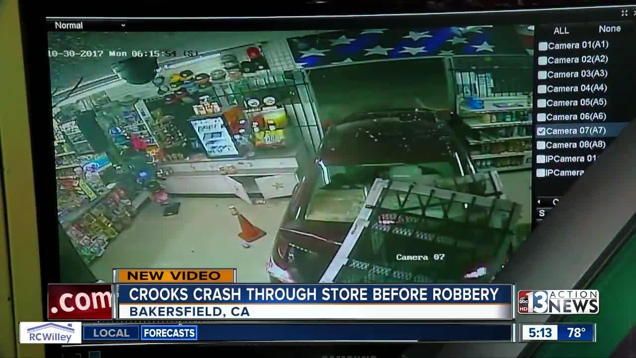 Crooks crash car through store before robbery