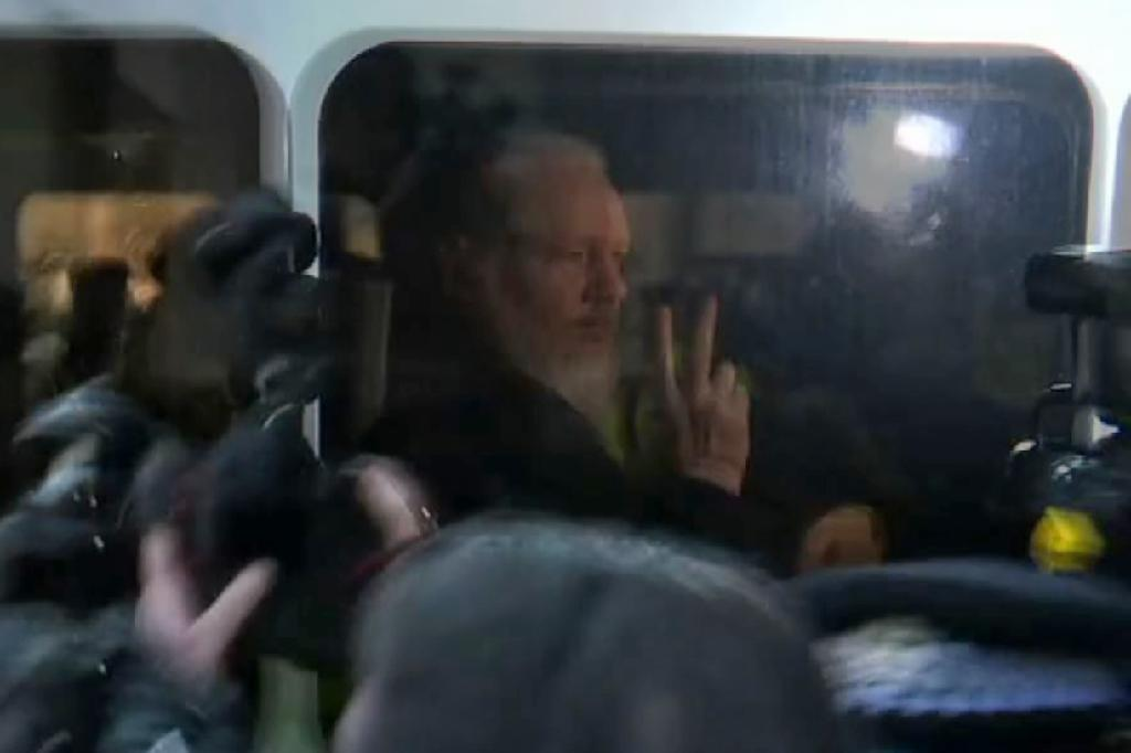 WikiLeaks founder Julian Assange on April 11, the day he was arrested at Ecuador's embassy in London