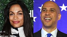Cory Booker says Rosario Dawson revealed their secret romance because she 'got ambushed'