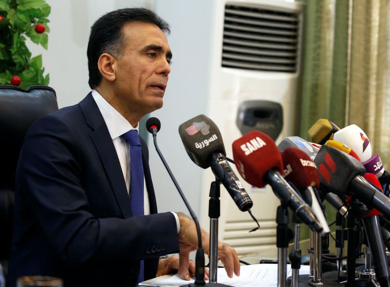 Syria's Minister of Education Imad al-Azab talks during a news conference in Damascus