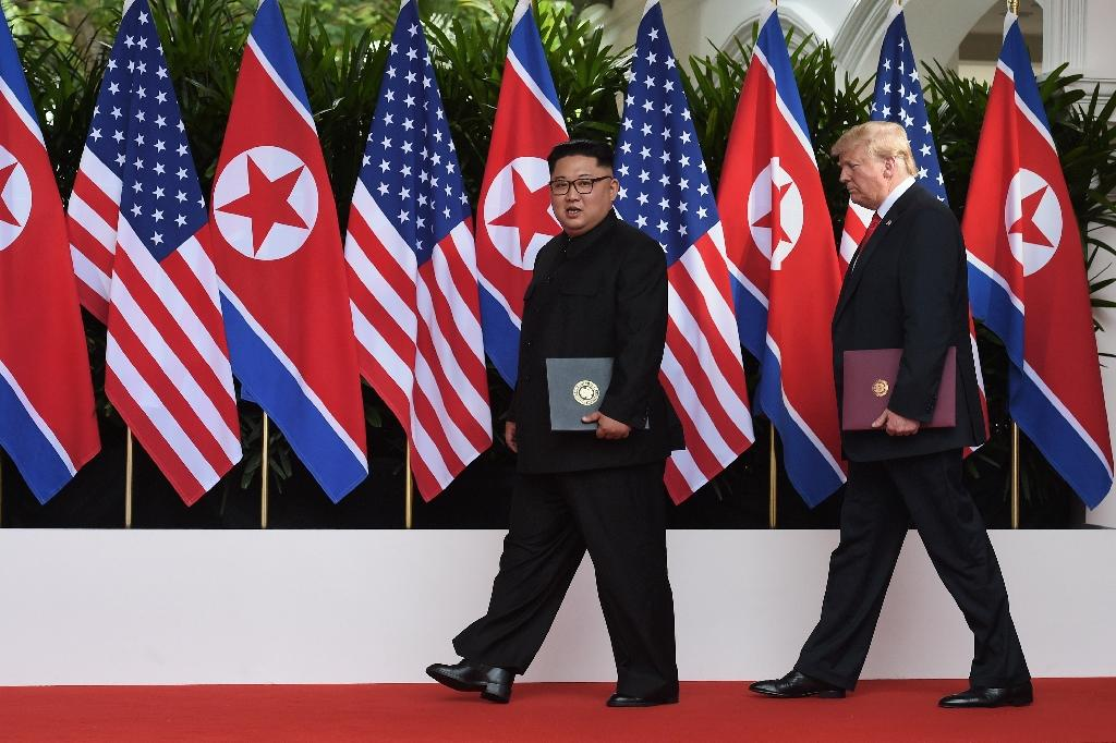 Kim Jong Un agreed to 'work towards complete denuclearisation of the Korean Peninsula' in return for security guarantees during the historic meeting with President Donald Trump last month in Singapore (AFP Photo/Anthony WALLACE)