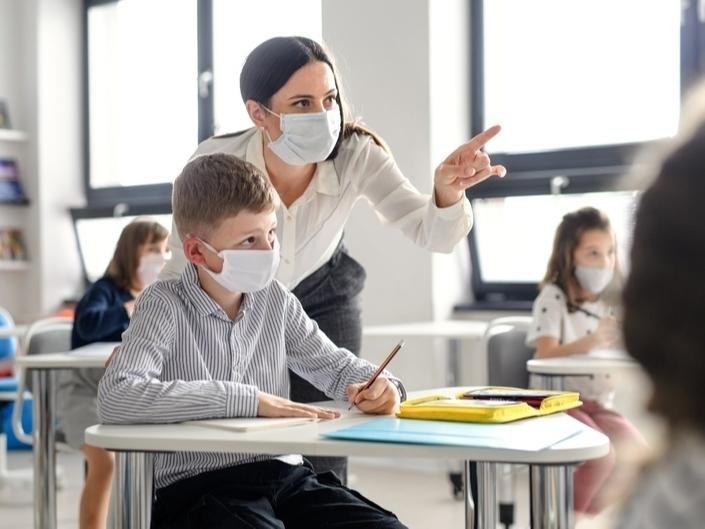 Guidelines from the Illinois State Board of Education require face coverings to be worn indoors at all times to reduce the transmission of the coronavirus.