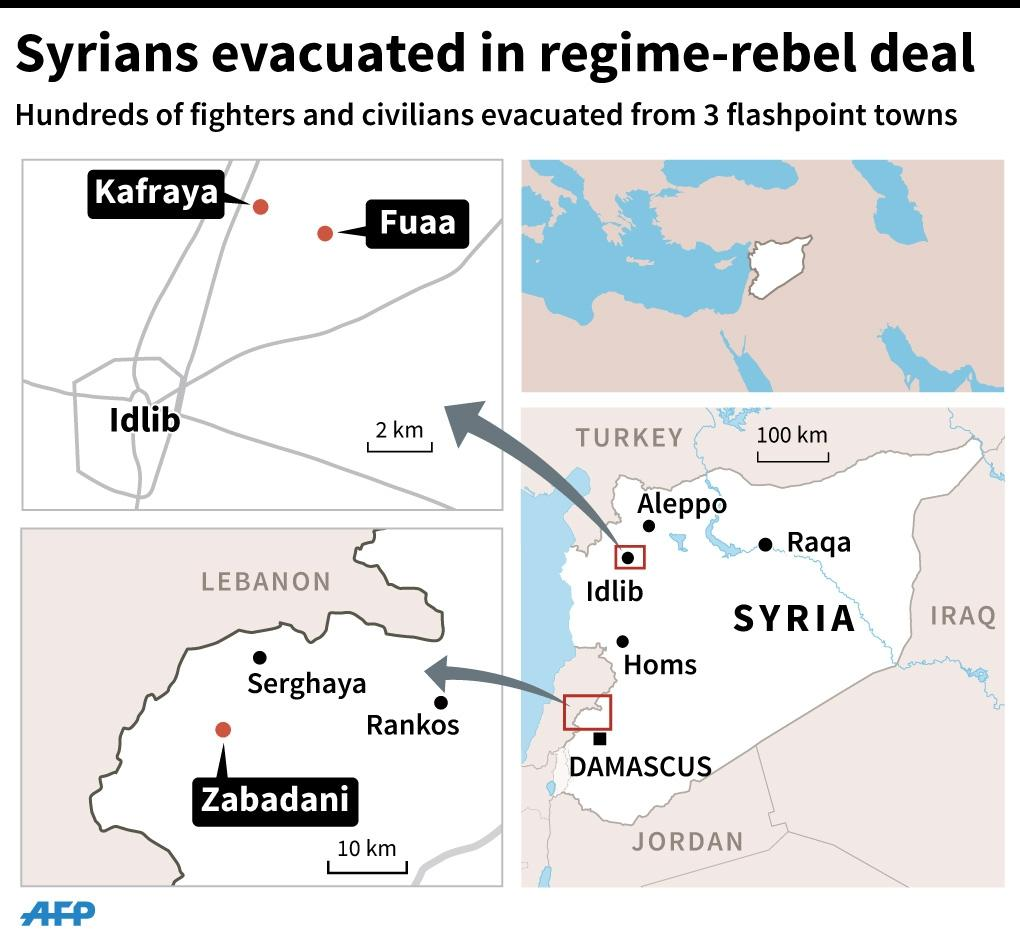 Maps of Syria locating evacution of fighters and civilians from three flashpoint towns. 90 x 82 mm (AFP Photo/)