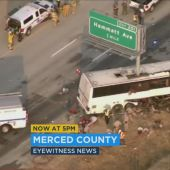 Five dead after bus sliced in half by sign pole in Central California crash