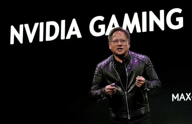 Jensen Huang, CEO of Nvidia, makes a point at his keynote address at CES in Las Vegas, Nevada, U.S. January 7, 2018. REUTERS/Rick Wilking