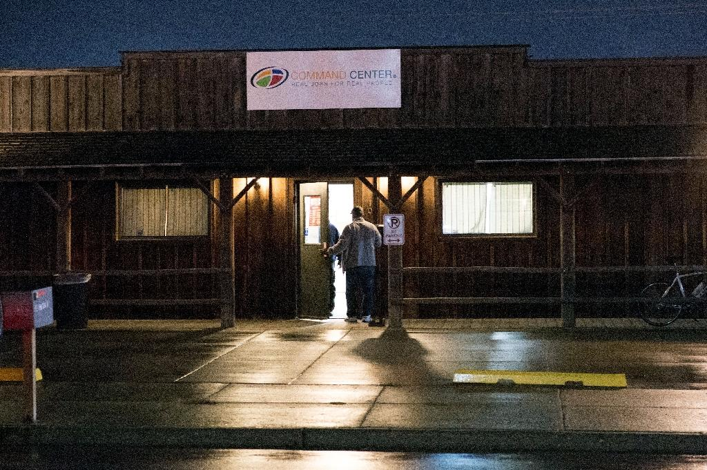 Kyle Tennessen, manager of the Command Center temporary employment agency in Williston, is certain he will continue to have more people lining up than jobs to offer (AFP Photo/Robyn Beck)