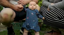 Parents amazed when baby learns to stand at just eight weeks old