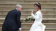 Brave Princess Eugenie proudly shows scars from childhood surgery in low-backed wedding dress