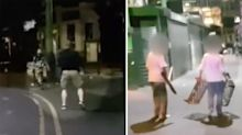 Chilling footage shows moment police come face-to-face with London Bridge terror attackers
