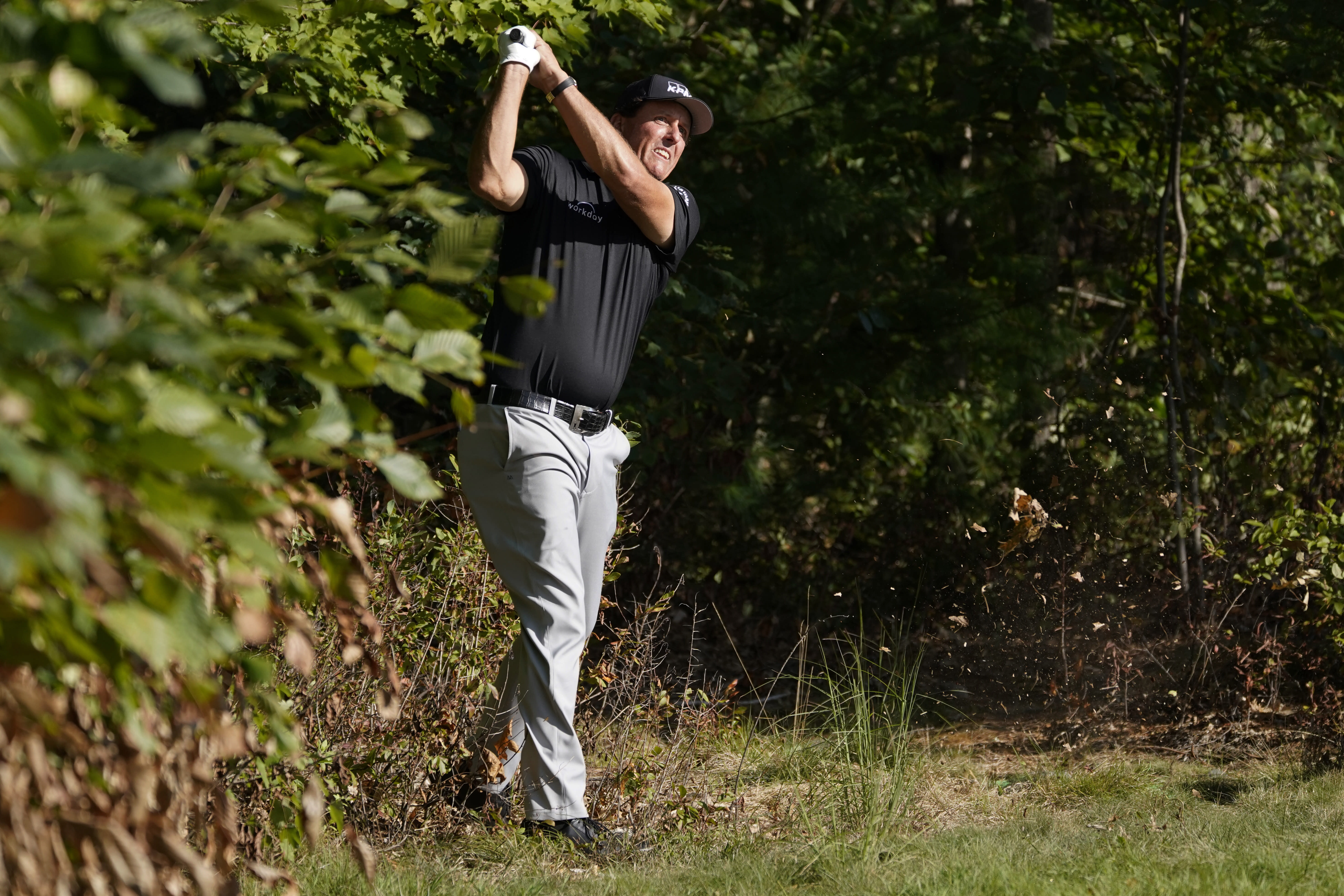 Phil Mickelson watches his shot out of the woods and onto the 14th green during the second round of the Northern Trust golf tournament at TPC Boston, Friday, Aug. 21, 2020, in Norton, Mass. (AP Photo/Charles Krupa)