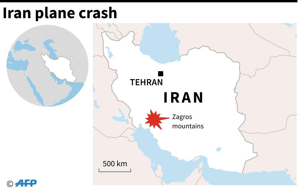 Map of Iran locating the Zagros mountains, where a passenger plane crashed on Sunday, killing all on board, according to officials (AFP Photo/John SAEKI)