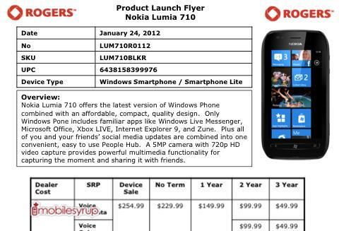 Lumia 710 busting through Rogers' door in February for $149 or $99, you call it