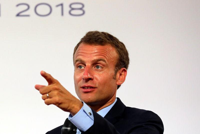 French President Emmanuel Macron speaks during the presentation of the French government's plan for the country's most deprived areas, at the Elysee Palace in Paris